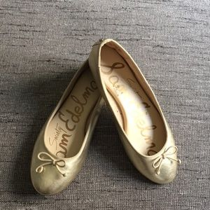 Sam Edelman Carrie gold leather ballet flats 7.5